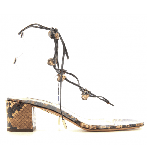 Sandales à talon carré en cuir façon serpent Aquazzura - MILOS SANDAL50