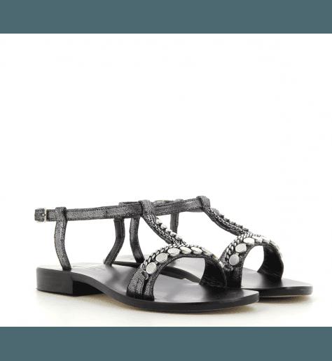 Sandales plates en cuir noir Nanni Milano - S87 NE