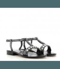 Sandales plates en cuir noir Nanni - S87 NE