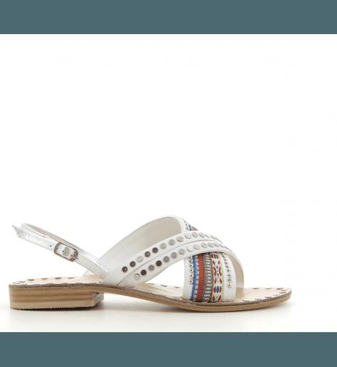 Sandales plates en cuir blanc Nanni - S102 NA