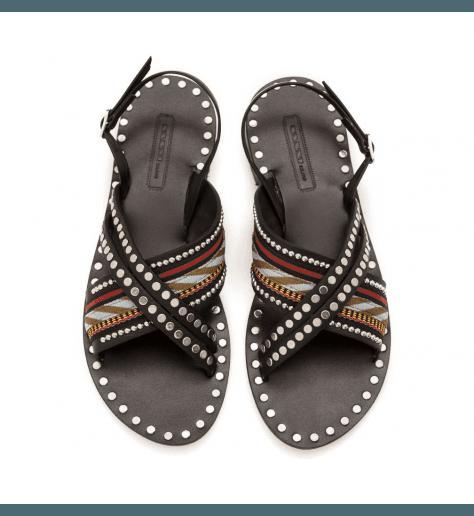Sandales plates en cuir noir Nanni Milano- S102 NE
