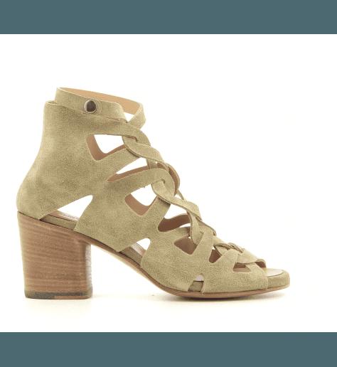 Sandales à talon bottier en suede taupe Alberto Fasciani - XENIA 52028t