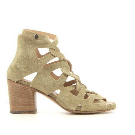 Sandales à talon bottier en suede vert kaki Alberto Fasciani - XENIA 52028t
