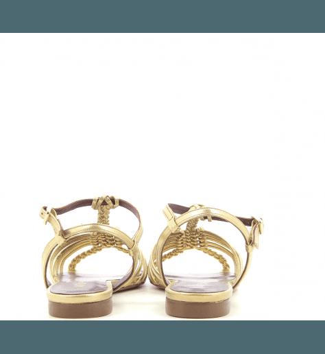 Sandales plates en cuir doré  Avril Gau -  PENNY E2