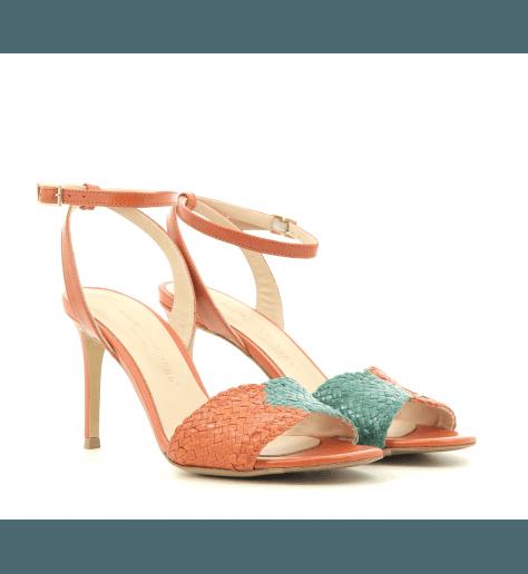 Sandales à talons en cuir tressé orange et vert Fauzian Jeunesse - 7472