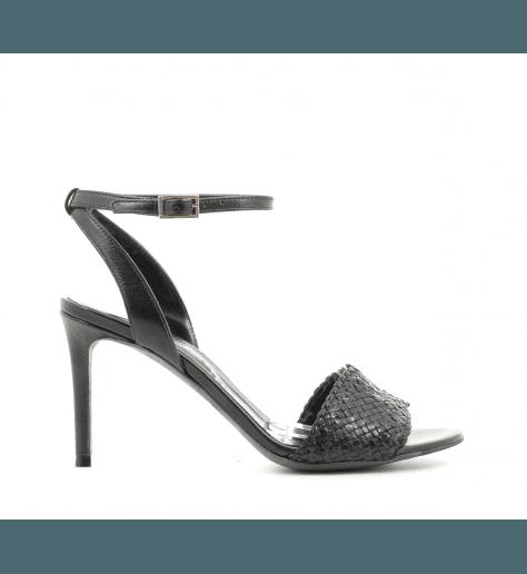 Sandales à talons en cuir tressé noir Fauzian Jeunesse - 7472