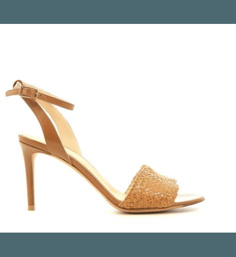 Sandales à talons en cuir tressé camel et moutarde Fauzian Jeunesse - 7472