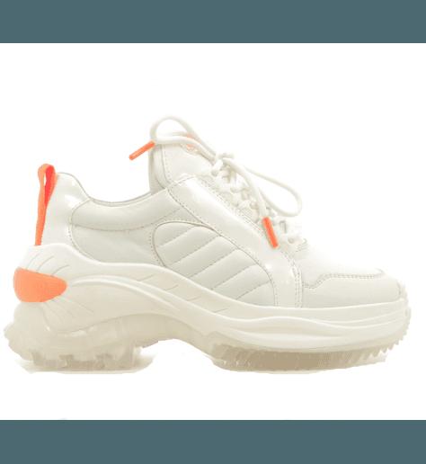 Baskets en cuir blanc et semelle épaisse  66266X-AH-734 - Bronx shoes Chainy