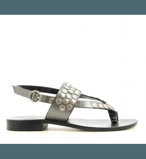 Sandales plates en cuir métallisé anthracite Nanni Milano - S111 NE