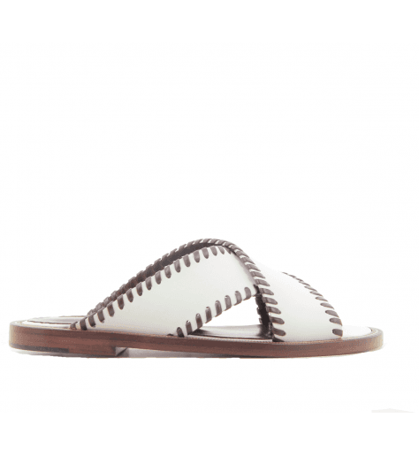 Sandales mules plates en cuir blanc Avril Gau -  TOPA V2B