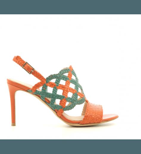 Sandales à talons en cuir tressé orange et vert Fauzian Jeunesse - 7473ORA