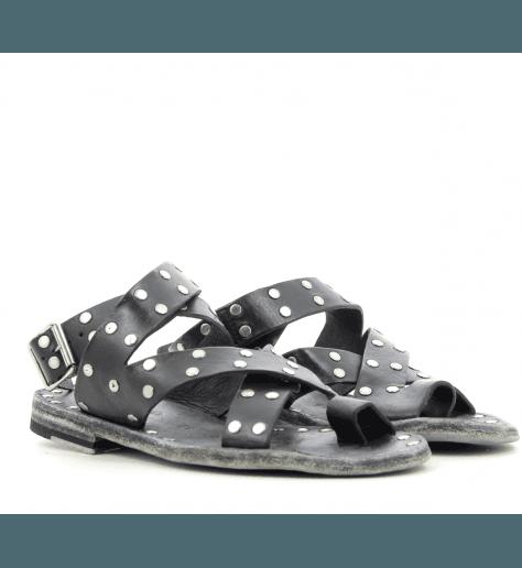 Sandales plates en cuir noir Brador Shoes ALMA - 57658