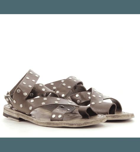 Sandales plates en cuir cognac Brador Shoes ALMA - 57658