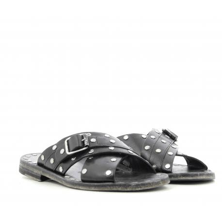 Mules Sandales plates en cuir noir Brador Shoes ALINA - 57665NO